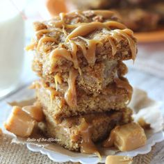 These Dulce de Leche Blondies are perfectly chewy and filled with a gooey caramel center.