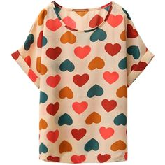 Sweetheart Short Sleeve Chiffon T-shirt ($7.90) ❤ liked on Polyvore featuring tops, t-shirts, short sleeve, oasap, blusas, heart pattern, white, chiffon top, loose tee and loose t shirt