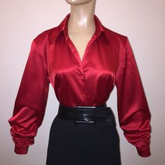 "d1348cb52 M Red LIQUID SATIN Stretch BLOUSE 41"" Bust Top Rhinestone Btn Vintage Shirt  8 10"
