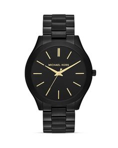 Michael Kors Mid-Size Black Slim Runway Three-Hand Watch, 42mm