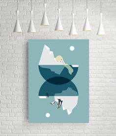 North and south, geometric abstract art, blue prints, polar bear print, penguin print, geometric illustration, arctic print, arctic poster by FLATOWL on Etsy https://www.etsy.com/uk/listing/235016074/north-and-south-geometric-abstract-art