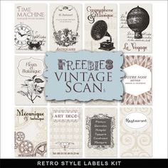 Retro style labels Kit from far far hill