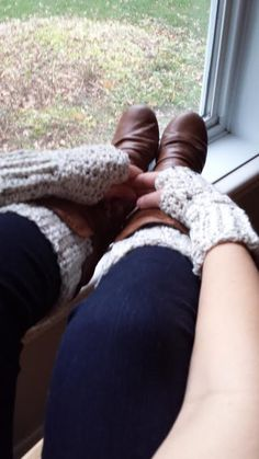 I became bored trying to crochet 8 identical sets of boot cuffs and fingerless mitts for my 6 daughters and 2 daughter-in-laws so I started combining yarn and crocheting with two strands of yarn an...