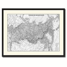 Russia Siberia Vintage B&W Map Canvas Print, Picture Frame Home Decor Wall Art Gift Ideas