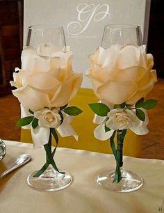22 New Ideas For Backyard Party Diy Bridal Shower Wine Glass Crafts, Bottle Crafts, Diy Wedding, Wedding Gifts, Wedding Ideas, Wedding Centerpieces, Wedding Decorations, Table Decorations, Wedding Wine Glasses
