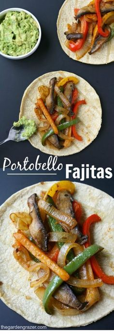 PORTOBELLO FAJITAS - Quick and easy Portobello Fajitas make a flavorful, satisfying weeknight meal! Personalize them with your own favorite toppings! (Vegan, gluten-free) ^^ CLICK TO SEE FULL RECIPES ^^ | Vegetarian | Vegetarian Recipes | Vegetarian Meals  | Vegetarian Recipes Dinner | Vegetarian Meal Prep | Vegetarian Dinner | Vegetarian Recipes Healthy | Vegetarian Recipes Easy | Vegetarian Recipes High Protein  | #lorente Easy Vegan Lunch, Quick Easy Vegan Meals, Easy Vegan Dishes, Easy Veggie Meals, Easy Vegitarian Recipes, Quick Vegan Recipes, Simple Vegetarian Recipes, Simple Healthy Meals, Quick Summer Meals