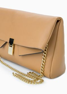 Faux-leather bag with detachable chain, flap with snap button fastening and metal details. Mango Clothing, Shoulder Bag, Handbags, Chain, Metal, Accessories, Leather Bag, Button, Women