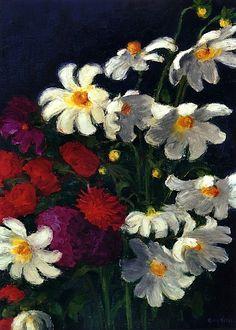 White and Red Dahlias Emile Nolde - 1937