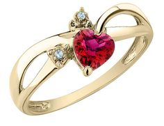 Created Ruby Heart Ring with Diamonds 1/2 Carat (ctw) in 10K Yellow Gold