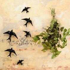 Set 4 golondrinas de cerámica / ceramic swallows via Casa Atlântica. Click on the image to see more!