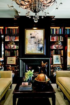 black lacquered bookcases