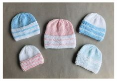 I love these sweet little hats - so simple but so cute!  Babbity Baby Hats    Babbity Baby Hats        in 2 coloursDK yarn in 2 complementary colours4mm needles Very Small Premature Baby –  7″ circum