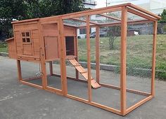 "Large 95"" Deluxe Solid wood Hen Chicken Cage House Coop Huge w/ Run nesting box"