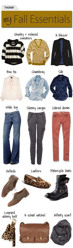 Fall essentials {I love everything but the skinny cargos and the boots.. I like sweet things :P}