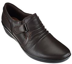 Clarks Ruched Leather Slip-ons with Adj. Strap - Everlay Coda