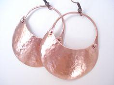Handmade Riveted Copper Hoop Earrings, Hammered Metalwork Contemporary Earrings, Cold Conection Hoop Earrings