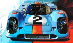 The word iconic gets bandied around a lot when it comes to vintage racing cars, its use isn't always warranted but when it comes to the Gulf Porsche 917 there's little doubt about its iconic status. Hell, it's probably one of the most iconic race cars ever made. This canvas print by automotive designerJohn Krsteski...