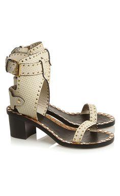 Isabel Marant Jaeryn Studded Snake-Effect Leather Sandals - Isabel Marant