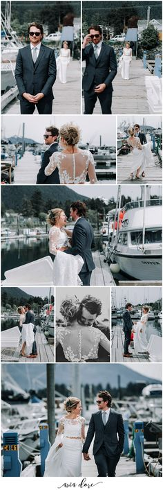 First look ideas | Wedding first look | First look inspiration | Outdoor wedding inspiration | Harbor wedding | Harbor wedding first look | First look groom reaction | See the whole set here: https://asiadore.com/blog/courtney-charles/