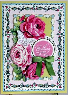 Thinking of you pink floral butterfly handmade greeting card anna griffin style