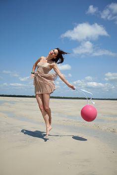 Beach, Ball, and Bright Sky