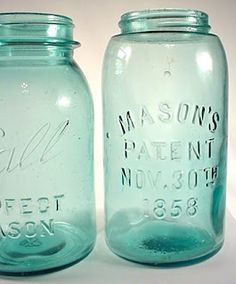Vintage blue green mason jars