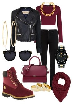 """""""Edgy Fall Outfit"""" by xxlilithachxx ❤ liked on Polyvore featuring Dr. Denim, Burberry, Timberland, Repeat, Movado, Alexander McQueen, Sole Society and Brooks Brothers"""