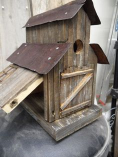 Barn birdhouse old sawmill rustic birdhouse by LynxCreekDesigns