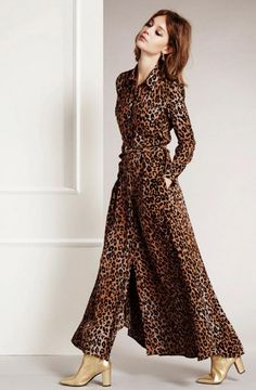 Maxidress in animal print, jeah jeah! #Fabienne #Chapot #wehkamp #damesmode #maxijurk #dress #animal #tijgerprint #leopard #trend