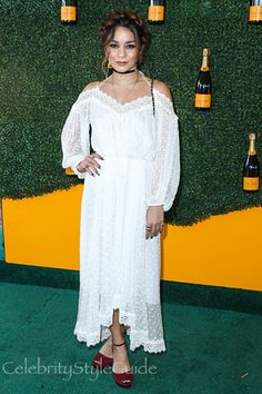 Vanessa Hudgens Looks Beautiful In Sheer White Lace At The Veuve Clicquot Polo Classic