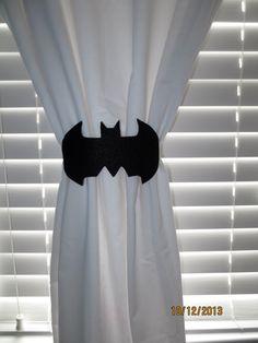 Bat Curtain Tie-backs Set of 2 by lilibugcreations on Etsy Boy Room, Kids Room, Child Room, Batman Bedroom, Batman Nursery, Baby Batman, Drop Cloth Curtains, Roman Curtains, Patterned Curtains