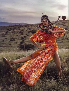 Tory's Sierra caftan seen through Vogue Japan's creative lens, as styled by Giovanna Battaglia