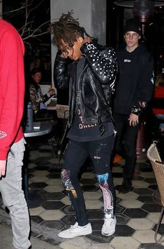 Jaden Smith Rocks Customized Leather Biker Jacket With MSFTSrep T-Shirt And Jeans
