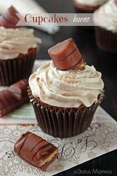 Tasty Nutella cupcakes with cream kids Bueno cream simple dessert breakfast snack kids easy cheap ho Nutella Cupcakes, Baking Cupcakes, Yummy Cupcakes, Cupcake Recipes, Cupcake Cakes, Cup Cake Kinder Bueno, Breakfast Dessert, Cake Toppings, Sweets