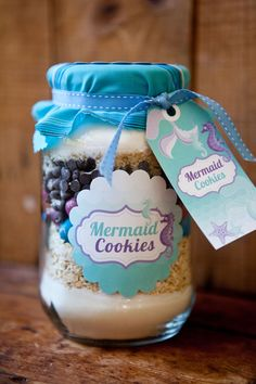 Mermaid Cookies - Labels and Tags - Mermaid Party Favors DIY - Instantly Downloadable and Editable File - Personalize with Adobe Reader