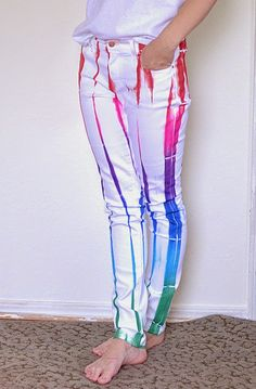 iLoveToCreate Blog: Random Rainbow White Jeans with Color Shot!