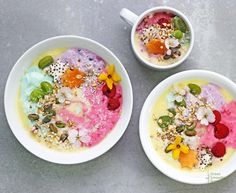 Rainbow Unicorn Protein Smoothie Bowls. Rainbow food, using color therapy, is said to actually be beneficial in more ways then nutritionally, it can stave off hunger pains, help you lose weight, boost your mood. So make your meal pretty, color it with berries, and adorn it with flowers. In fact, my London-born mother always says...ReadMore