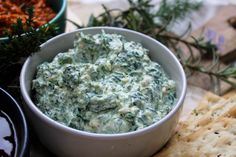 Creamy spinach, feta & roasted garlic dip