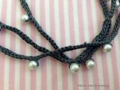 Crocheted beads necklace close up