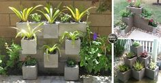 fioriera-blocchi-di-cemento1 Cinder Block Garden, Front Yard Landscaping, Potted Plants, Drought Tolerant, Container Gardening, Lawn, Diy And Crafts, Diy Projects, Project Ideas