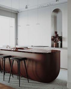 modele de cuisine avec ilot central depareille marron design organique moderne plan de travail marbre