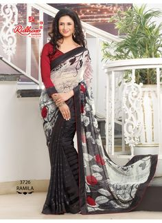 Blouse Fabric Faux Georgette Colour Multi Color, Black Fabric Georgette Fabric Care Dry Clean Only Occasion Casual, Reception, Party Type Bollywood Saree Work Sequence Work