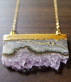 Amethyst Stalactite Druzy Necklace 14k Gold by friedasophie