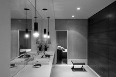 Bathroom: Full wall window feature; stool; In-Wall closet