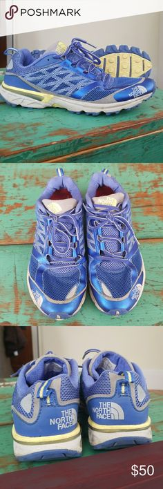 North Face Sneakers Blue North Face running sneakers. Perfect for running or hiking. Very comfortable and supportive. Great pre-worn condition. The North Face Shoes Sneakers