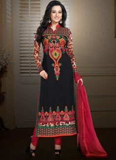 Black With Red Flower Work Churidar Suit