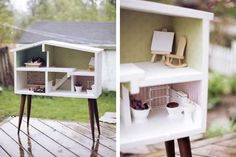 This could easily be done with an old bookcase. SO cute!