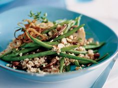 Hearty salad recipes, including bulgur salad with lightly roasted vegetables and quinoa salad with pickled radishes and feta. Farro Recipes, Bean Recipes, Wine Recipes, Salad Recipes, Cooking Recipes, Healthy Recipes, Green Bean Salads, Green Beans, Farro Salad