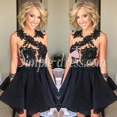 Simple-dress Elegant Scoop A-line Black Applique Short 2015 Homecoming Dresses/Cocktail Dresses/Party Dresses  CHHD-70732