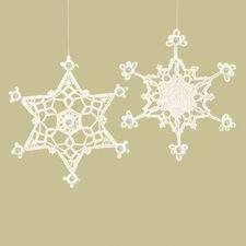 Crocheted Snowflake Christmas Ornaments (Set of 2) 11.75